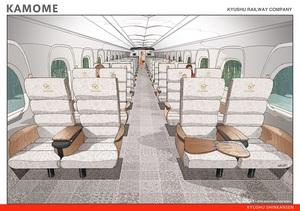 九州新幹線N700A〈かもめ〉指定席のインテリア(提供:九州旅客鉄道)